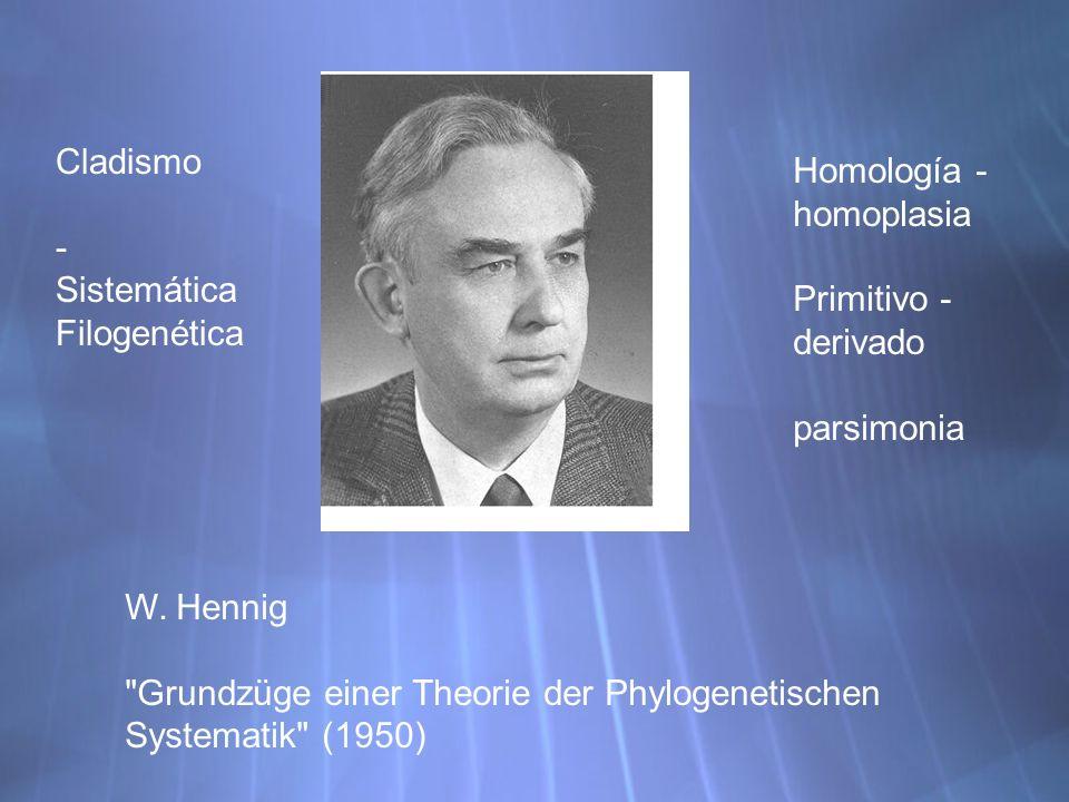 Cladismo - Sistemática Filogenética W. Hennig