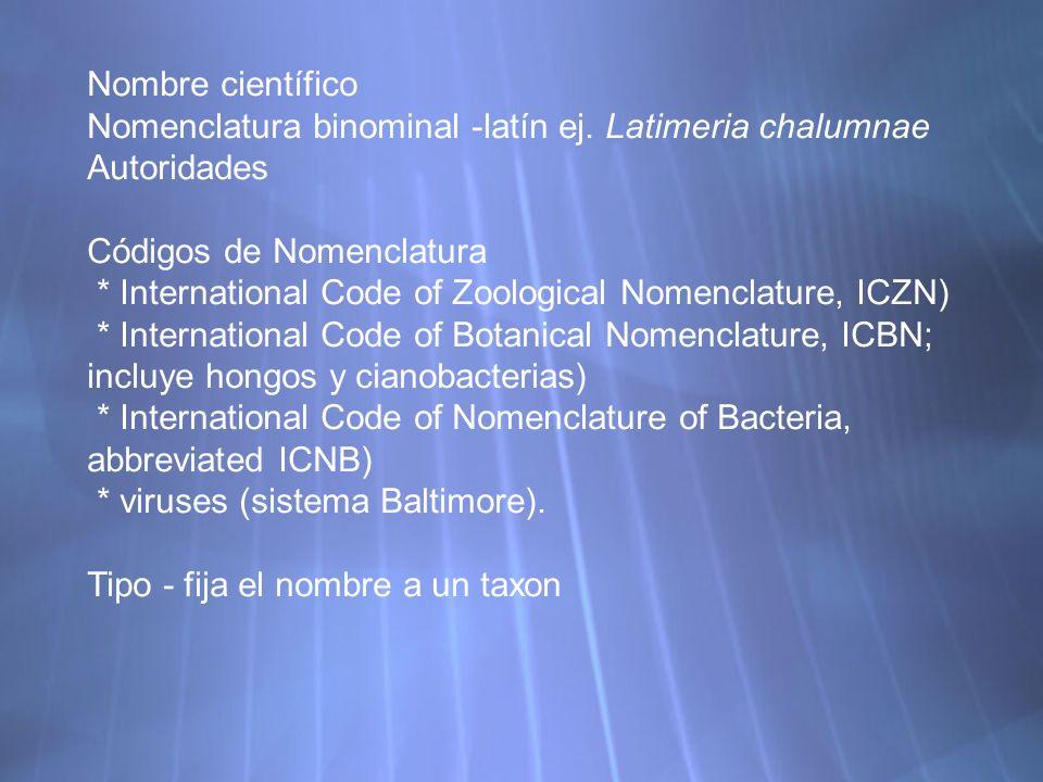 Nombre científico Nomenclatura binominal -latín ej.
