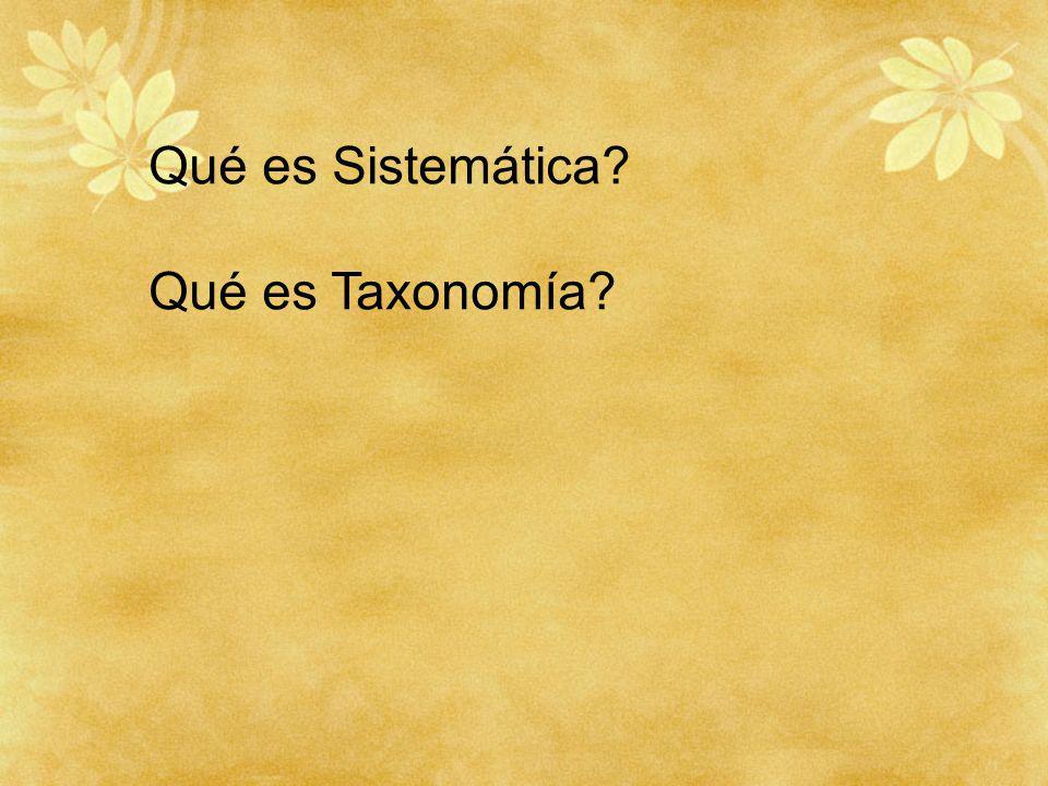 Qué es Sistemática Qué es Taxonomía
