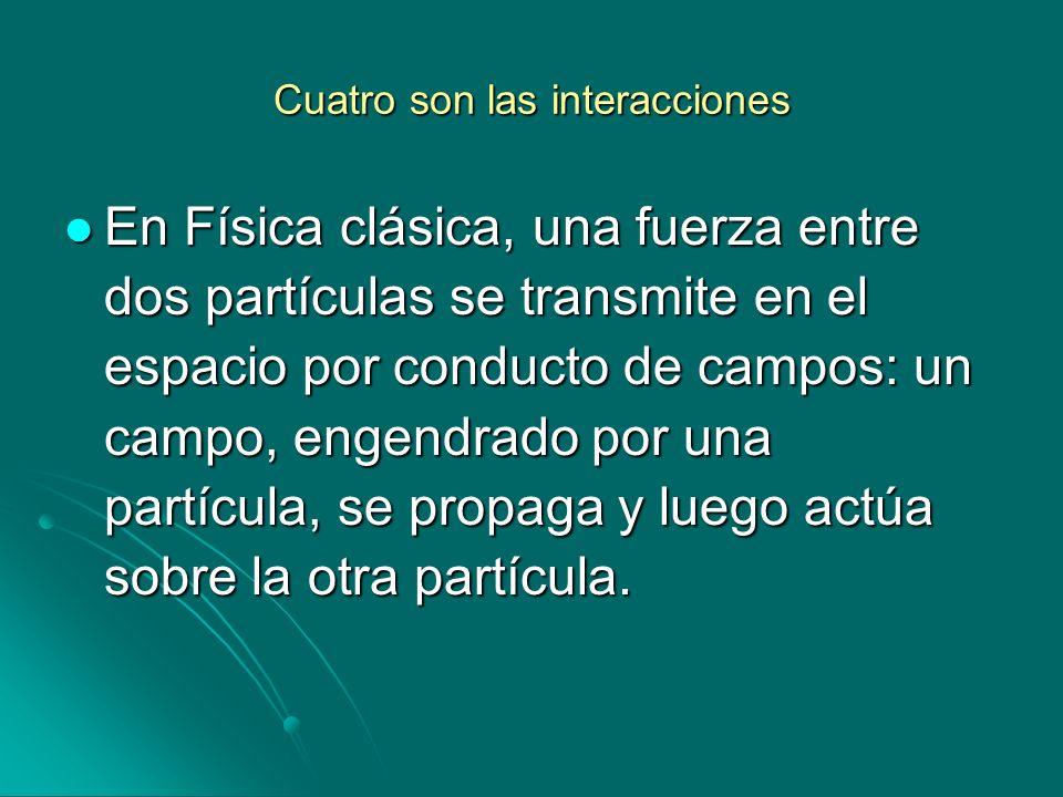 Cuatro son las interacciones En Física clásica, una fuerza entre dos partículas se transmite en el espacio por conducto de campos: un campo, engendrad