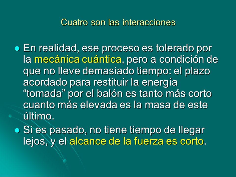 Cuatro son las interacciones En realidad, ese proceso es tolerado por la mecánica cuántica, pero a condición de que no lleve demasiado tiempo: el plaz