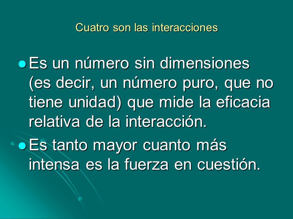 Cuatro son las interacciones Es un número sin dimensiones (es decir, un número puro, que no tiene unidad) que mide la eficacia relativa de la interacc
