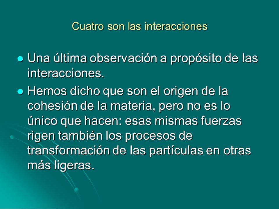 Cuatro son las interacciones Una última observación a propósito de las interacciones. Una última observación a propósito de las interacciones. Hemos d