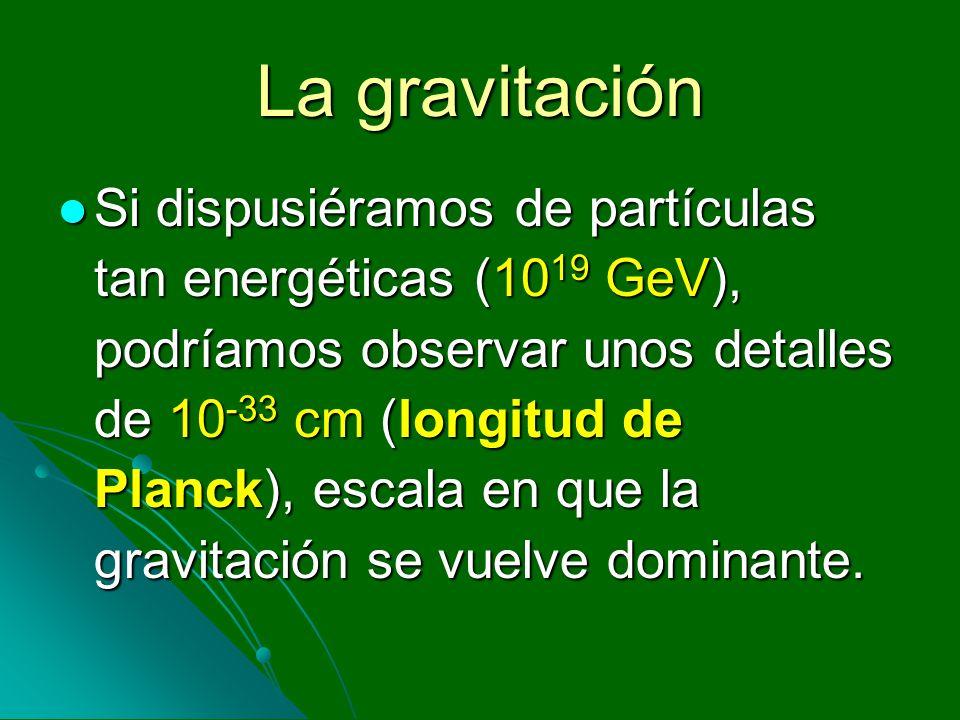 La gravitación Si dispusiéramos de partículas tan energéticas (10 19 GeV), podríamos observar unos detalles de 10 -33 cm (longitud de Planck), escala