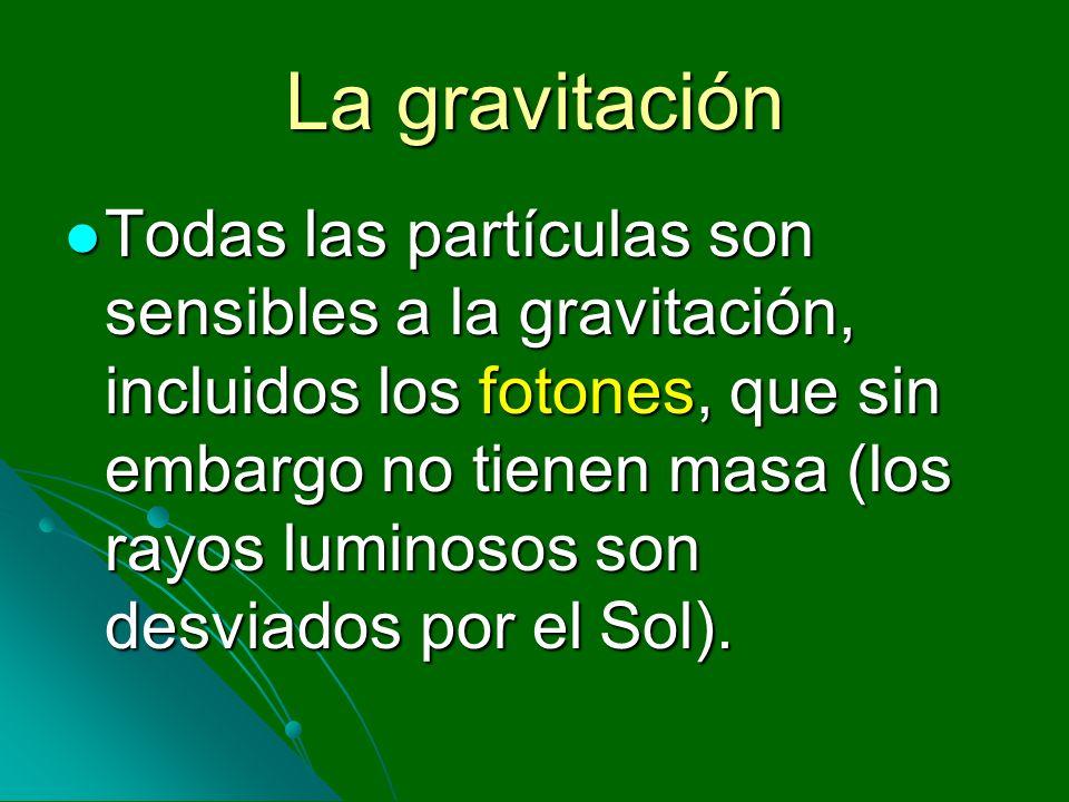 La gravitación Todas las partículas son sensibles a la gravitación, incluidos los fotones, que sin embargo no tienen masa (los rayos luminosos son des