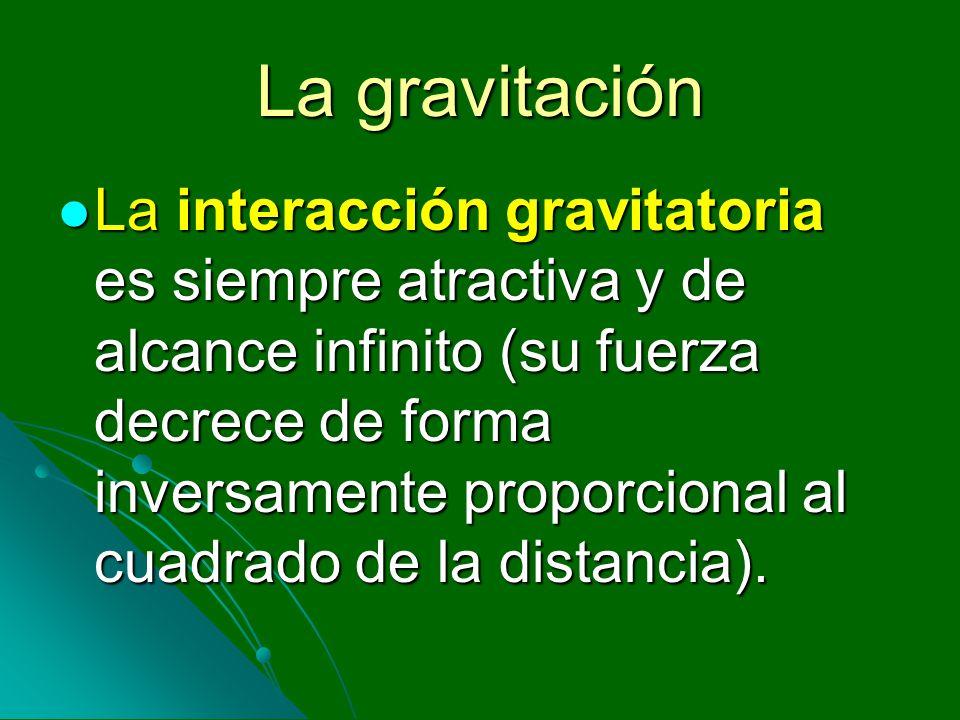 La gravitación La interacción gravitatoria es siempre atractiva y de alcance infinito (su fuerza decrece de forma inversamente proporcional al cuadrad