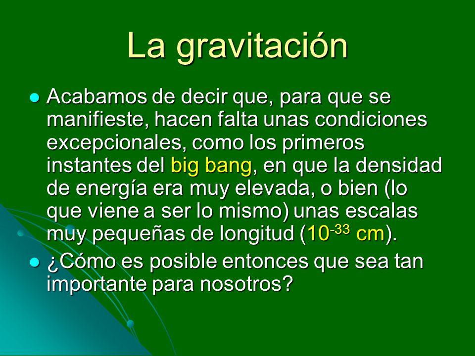 La gravitación Acabamos de decir que, para que se manifieste, hacen falta unas condiciones excepcionales, como los primeros instantes del big bang, en