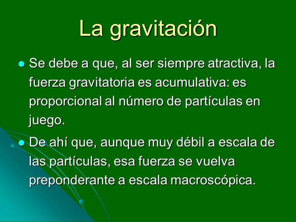 La gravitación Se debe a que, al ser siempre atractiva, la fuerza gravitatoria es acumulativa: es proporcional al número de partículas en juego. Se de