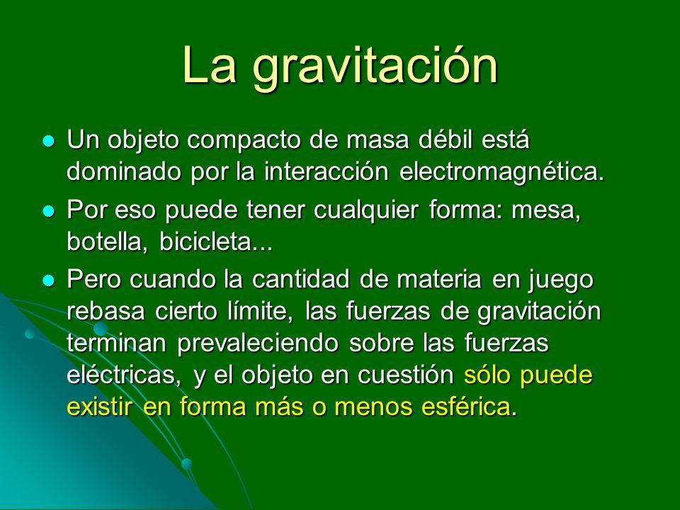 La gravitación Un objeto compacto de masa débil está dominado por la interacción electromagnética. Un objeto compacto de masa débil está dominado por