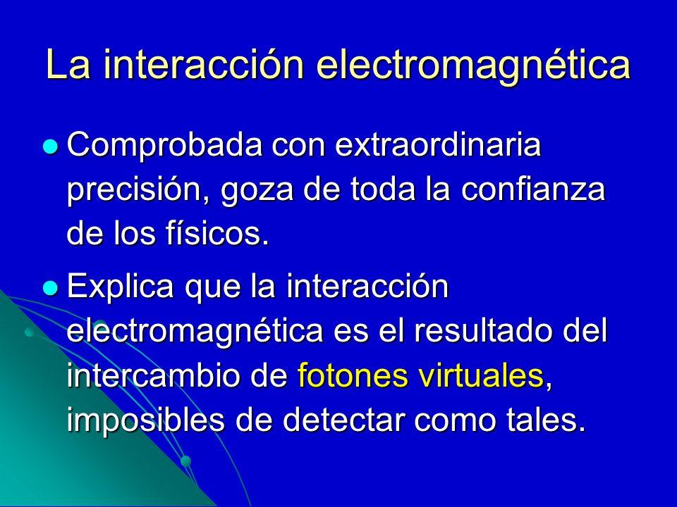 La interacción electromagnética Comprobada con extraordinaria precisión, goza de toda la confianza de los físicos. Comprobada con extraordinaria preci
