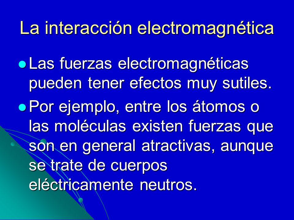 La interacción electromagnética Las fuerzas electromagnéticas pueden tener efectos muy sutiles. Las fuerzas electromagnéticas pueden tener efectos muy