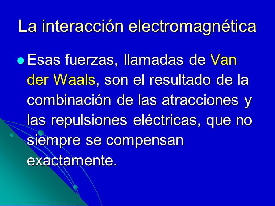 La interacción electromagnética Esas fuerzas, llamadas de Van der Waals, son el resultado de la combinación de las atracciones y las repulsiones eléct