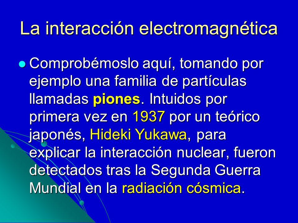 La interacción electromagnética Comprobémoslo aquí, tomando por ejemplo una familia de partículas llamadas piones. Intuidos por primera vez en 1937 po