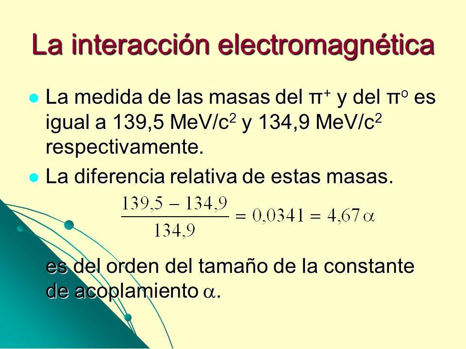 La interacción electromagnética La medida de las masas del π + y del π o es igual a 139,5 MeV/c 2 y 134,9 MeV/c 2 respectivamente. La medida de las ma