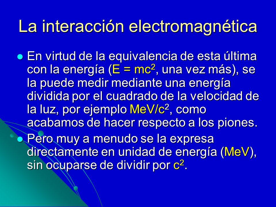 La interacción electromagnética En virtud de la equivalencia de esta última con la energía (E = mc 2, una vez más), se la puede medir mediante una ene