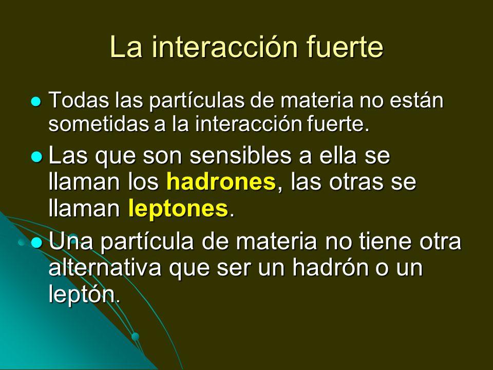 La interacción fuerte Todas las partículas de materia no están sometidas a la interacción fuerte. Todas las partículas de materia no están sometidas a