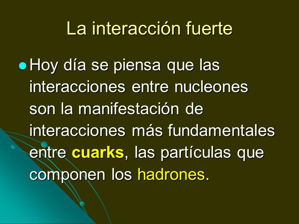 La interacción fuerte Hoy día se piensa que las interacciones entre nucleones son la manifestación de interacciones más fundamentales entre cuarks, la