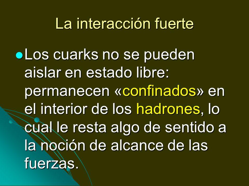La interacción fuerte Los cuarks no se pueden aislar en estado libre: permanecen «confinados» en el interior de los hadrones, lo cual le resta algo de