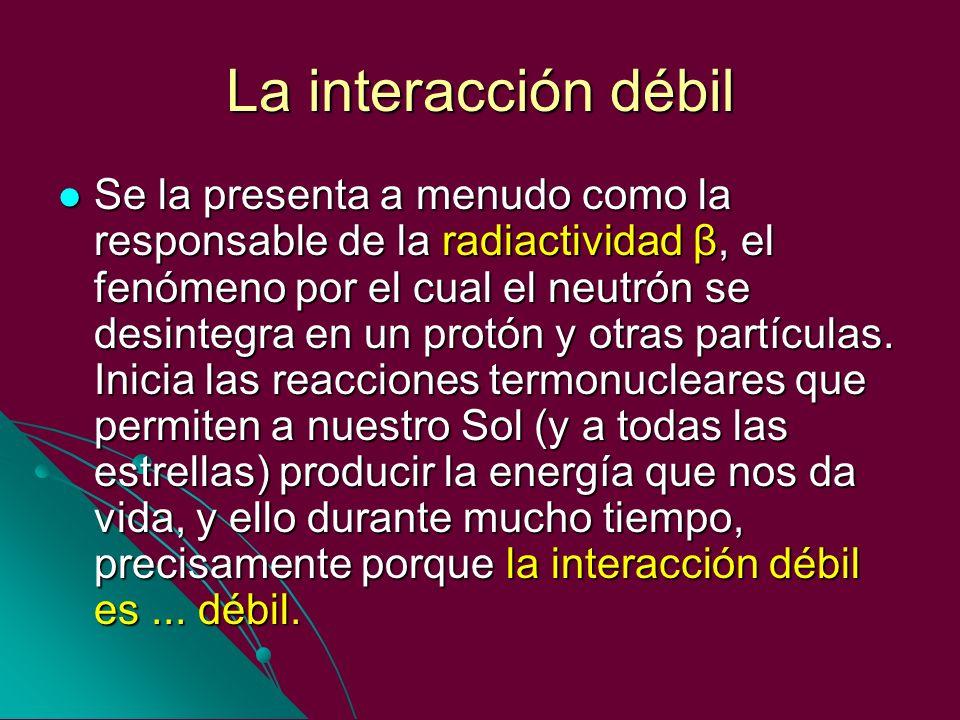 La interacción débil Se la presenta a menudo como la responsable de la radiactividad β, el fenómeno por el cual el neutrón se desintegra en un protón