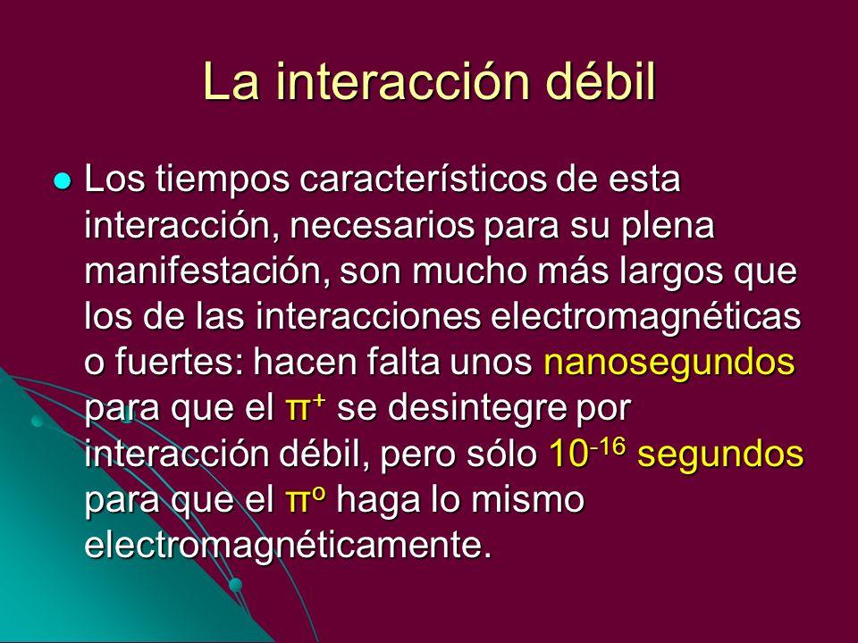 La interacción débil Los tiempos característicos de esta interacción, necesarios para su plena manifestación, son mucho más largos que los de las inte