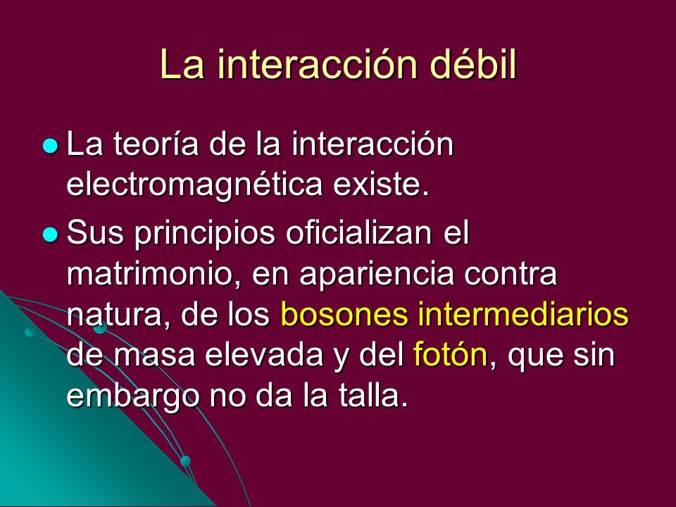 La interacción débil La teoría de la interacción electromagnética existe. La teoría de la interacción electromagnética existe. Sus principios oficiali