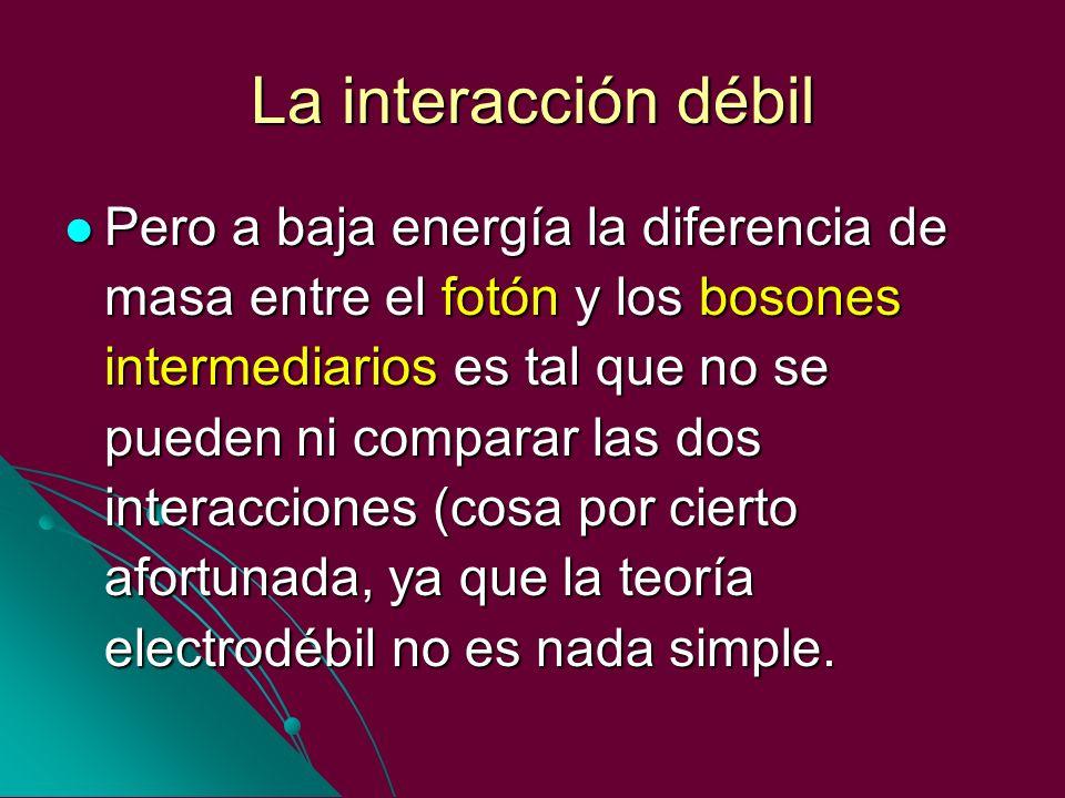 La interacción débil Pero a baja energía la diferencia de masa entre el fotón y los bosones intermediarios es tal que no se pueden ni comparar las dos