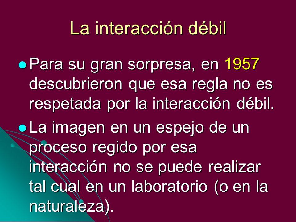La interacción débil Para su gran sorpresa, en 1957 descubrieron que esa regla no es respetada por la interacción débil. Para su gran sorpresa, en 195