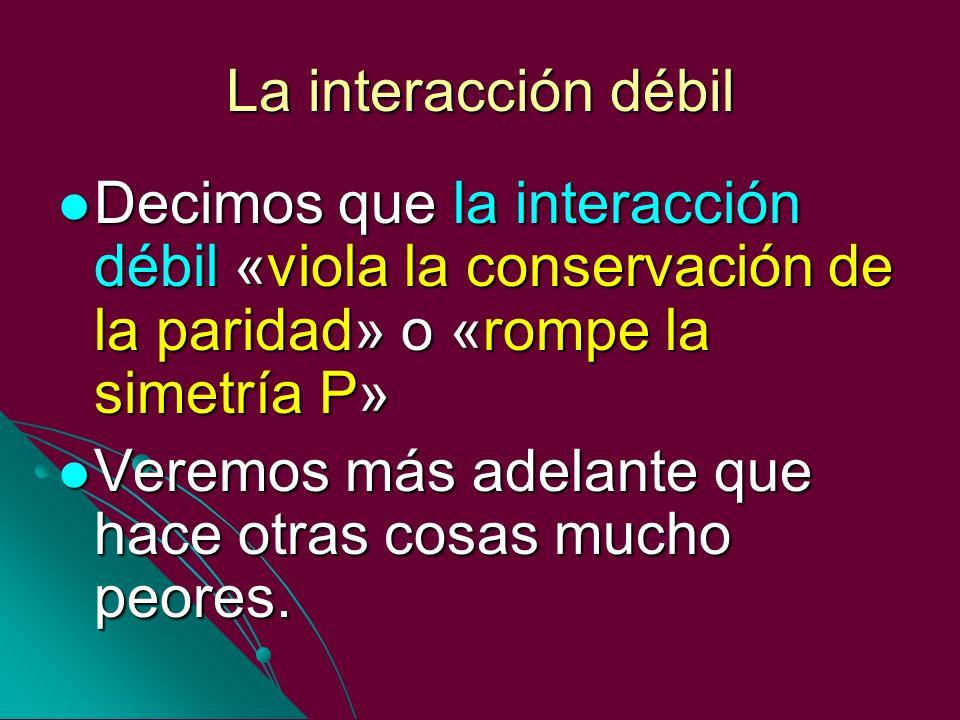 La interacción débil Decimos que la interacción débil «viola la conservación de la paridad» o «rompe la simetría P» Decimos que la interacción débil «
