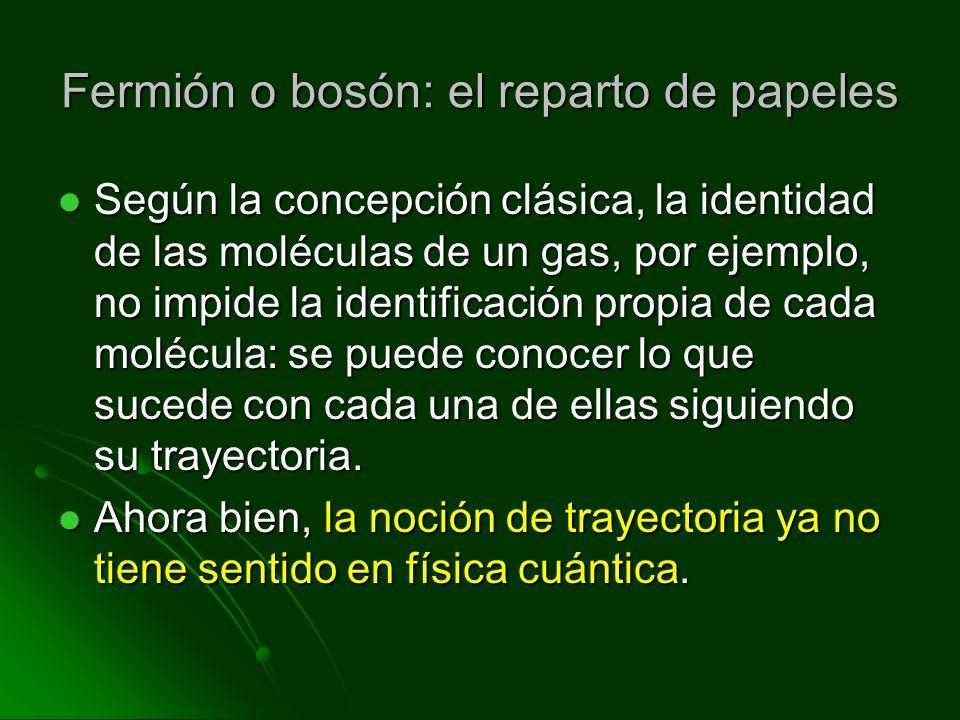 Fermión o bosón: el reparto de papeles Según la concepción clásica, la identidad de las moléculas de un gas, por ejemplo, no impide la identificación