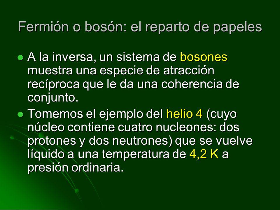 Fermión o bosón: el reparto de papeles A la inversa, un sistema de bosones muestra una especie de atracción recíproca que le da una coherencia de conj