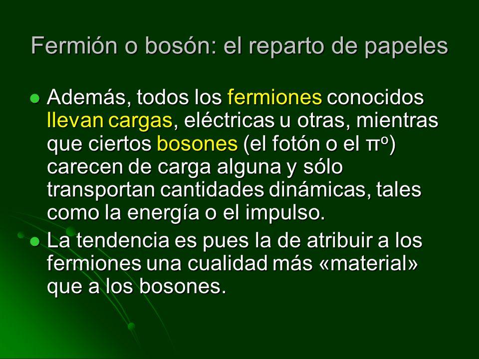 Fermión o bosón: el reparto de papeles Además, todos los fermiones conocidos llevan cargas, eléctricas u otras, mientras que ciertos bosones (el fotón