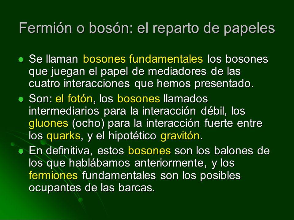 Fermión o bosón: el reparto de papeles Se llaman bosones fundamentales los bosones que juegan el papel de mediadores de las cuatro interacciones que h
