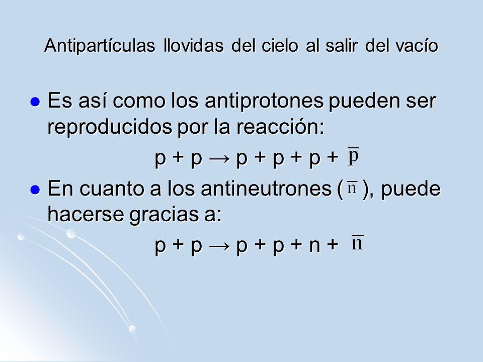 Antipartículas llovidas del cielo al salir del vacío Es así como los antiprotones pueden ser reproducidos por la reacción: Es así como los antiprotone
