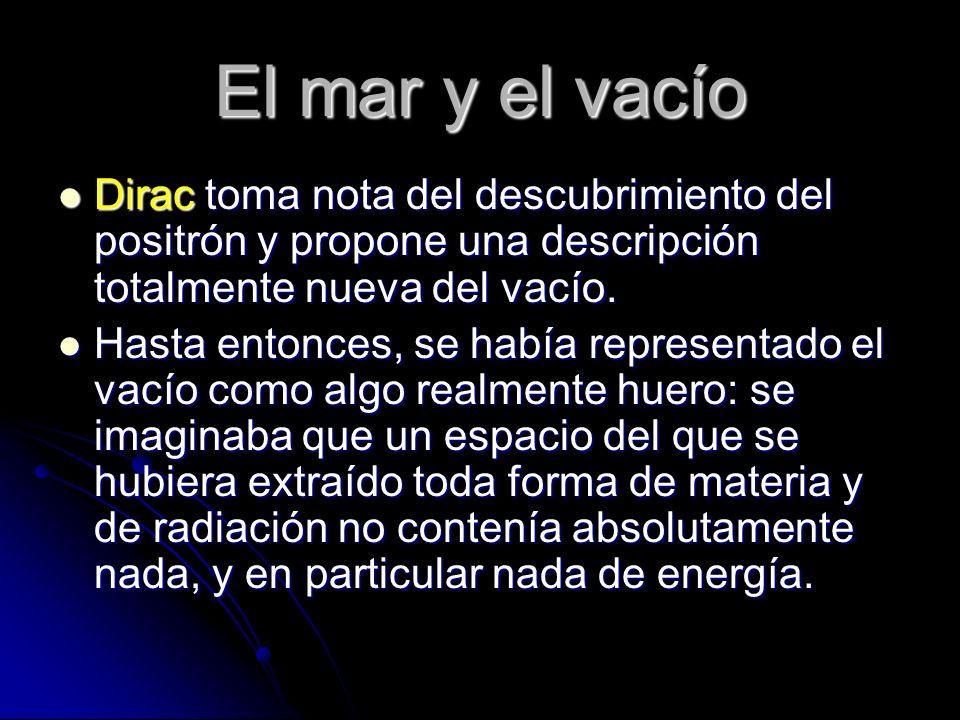 El mar y el vacío Dirac toma nota del descubrimiento del positrón y propone una descripción totalmente nueva del vacío. Dirac toma nota del descubrimi