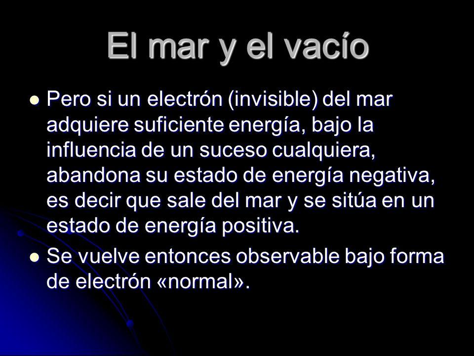 El mar y el vacío Pero si un electrón (invisible) del mar adquiere suficiente energía, bajo la influencia de un suceso cualquiera, abandona su estado