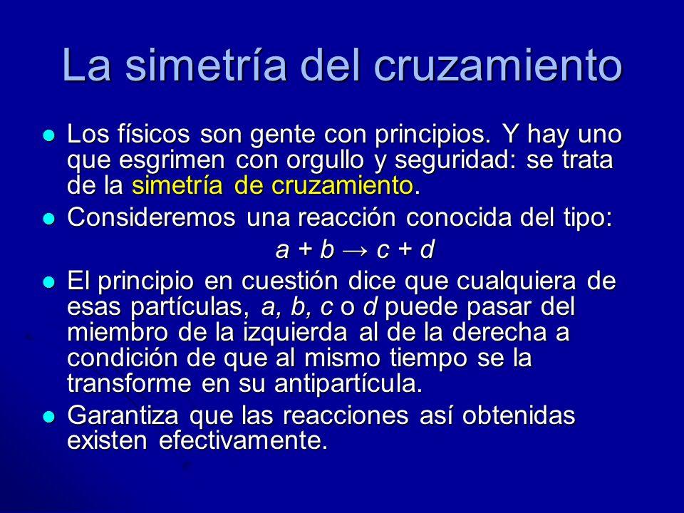 La simetría del cruzamiento Los físicos son gente con principios. Y hay uno que esgrimen con orgullo y seguridad: se trata de la simetría de cruzamien