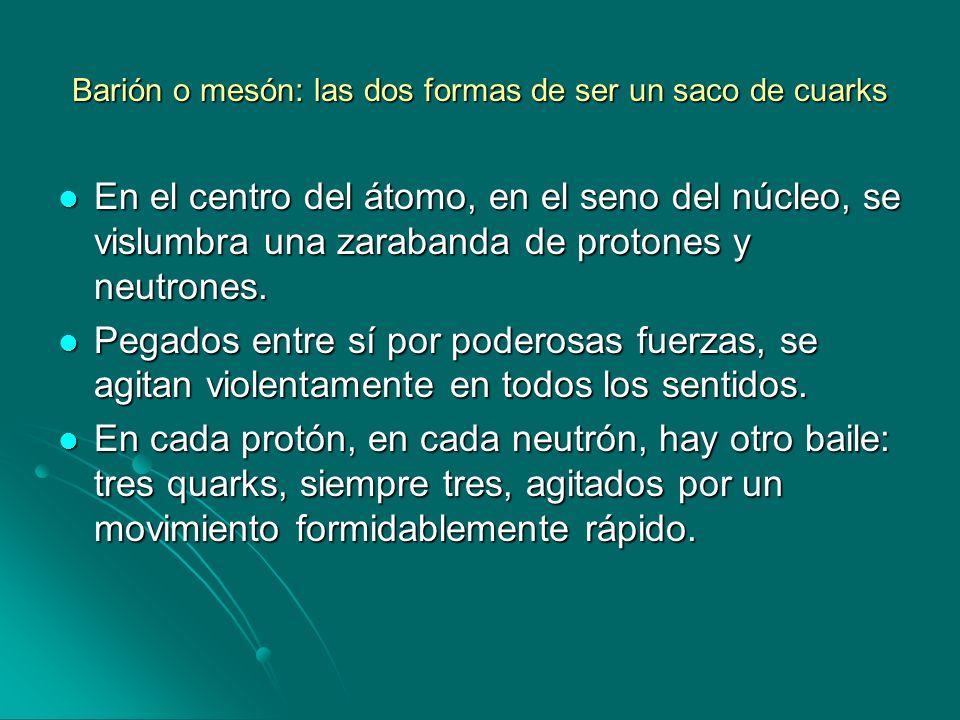Barión o mesón: las dos formas de ser un saco de cuarks En el centro del átomo, en el seno del núcleo, se vislumbra una zarabanda de protones y neutro