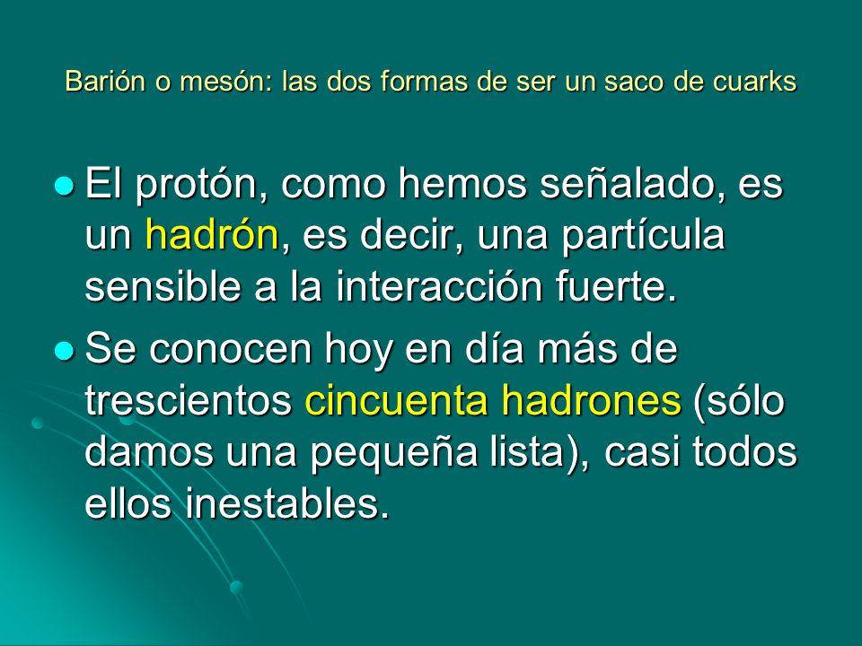 Barión o mesón: las dos formas de ser un saco de cuarks El protón, como hemos señalado, es un hadrón, es decir, una partícula sensible a la interacció