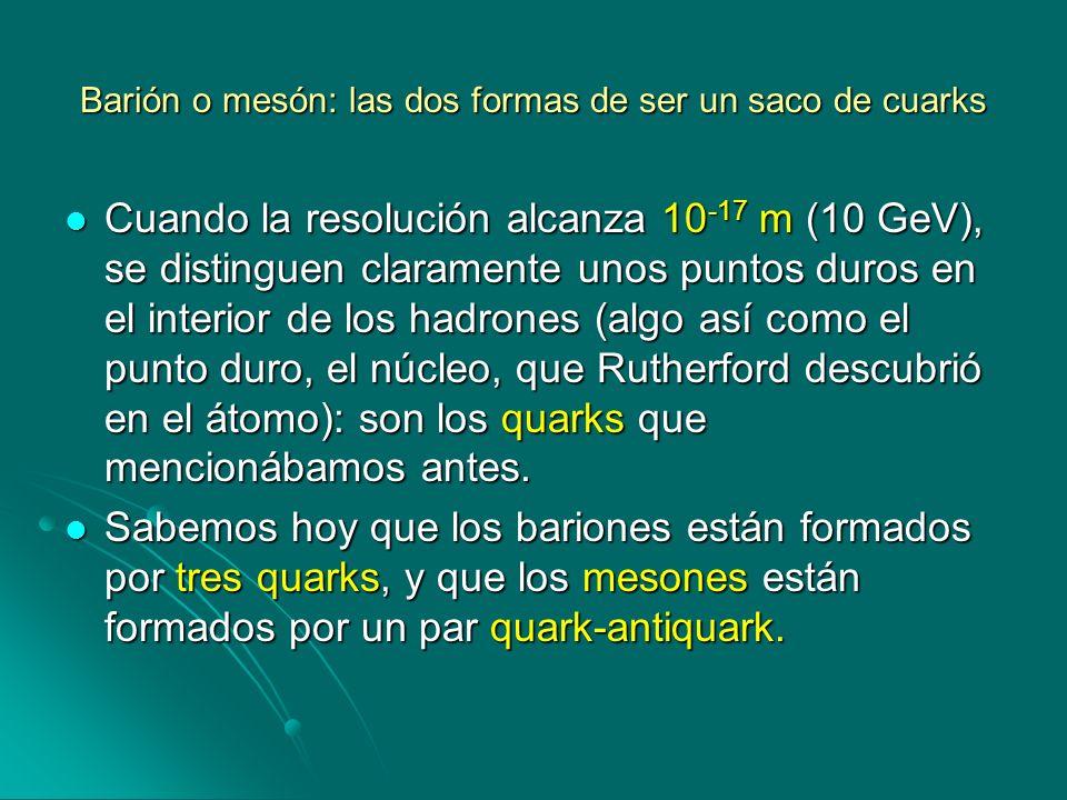 Barión o mesón: las dos formas de ser un saco de cuarks Cuando la resolución alcanza 10 -17 m (10 GeV), se distinguen claramente unos puntos duros en