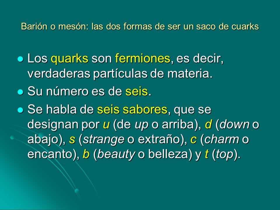 Barión o mesón: las dos formas de ser un saco de cuarks Los quarks son fermiones, es decir, verdaderas partículas de materia. Los quarks son fermiones