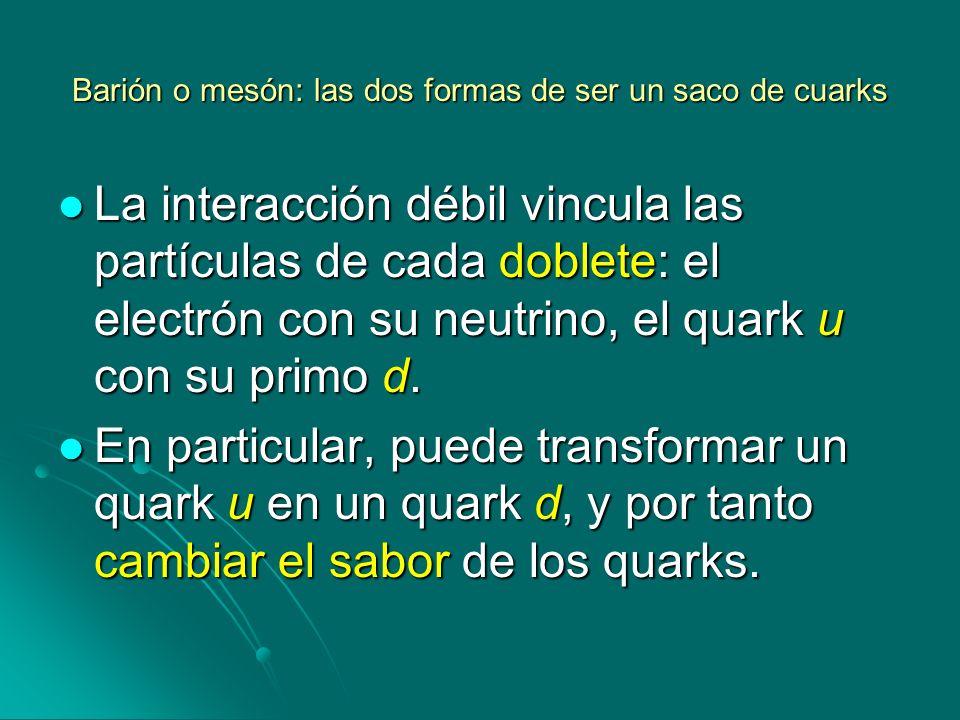 Barión o mesón: las dos formas de ser un saco de cuarks La interacción débil vincula las partículas de cada doblete: el electrón con su neutrino, el q