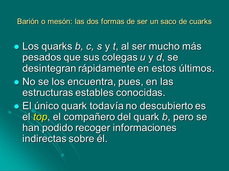 Barión o mesón: las dos formas de ser un saco de cuarks Los quarks b, c, s y t, al ser mucho más pesados que sus colegas u y d, se desintegran rápidam