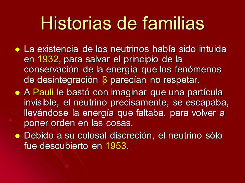 Historias de familias La existencia de los neutrinos había sido intuida en 1932, para salvar el principio de la conservación de la energía que los fen