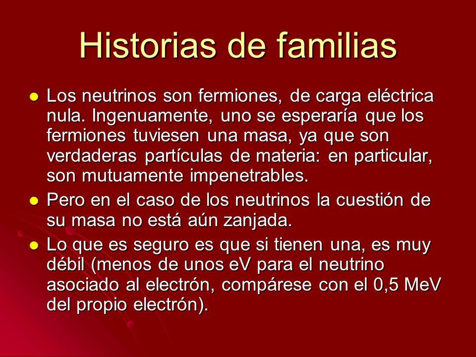 Historias de familias Los neutrinos son fermiones, de carga eléctrica nula. Ingenuamente, uno se esperaría que los fermiones tuviesen una masa, ya que