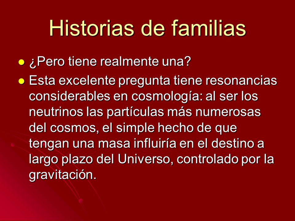 Historias de familias ¿Pero tiene realmente una? ¿Pero tiene realmente una? Esta excelente pregunta tiene resonancias considerables en cosmología: al