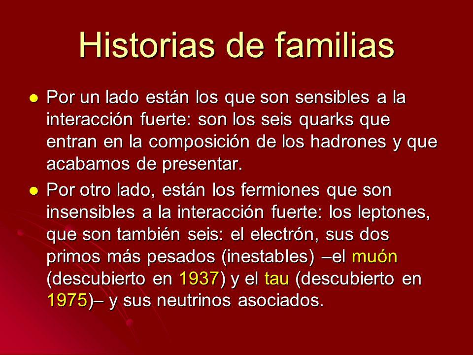 Historias de familias Por un lado están los que son sensibles a la interacción fuerte: son los seis quarks que entran en la composición de los hadrone