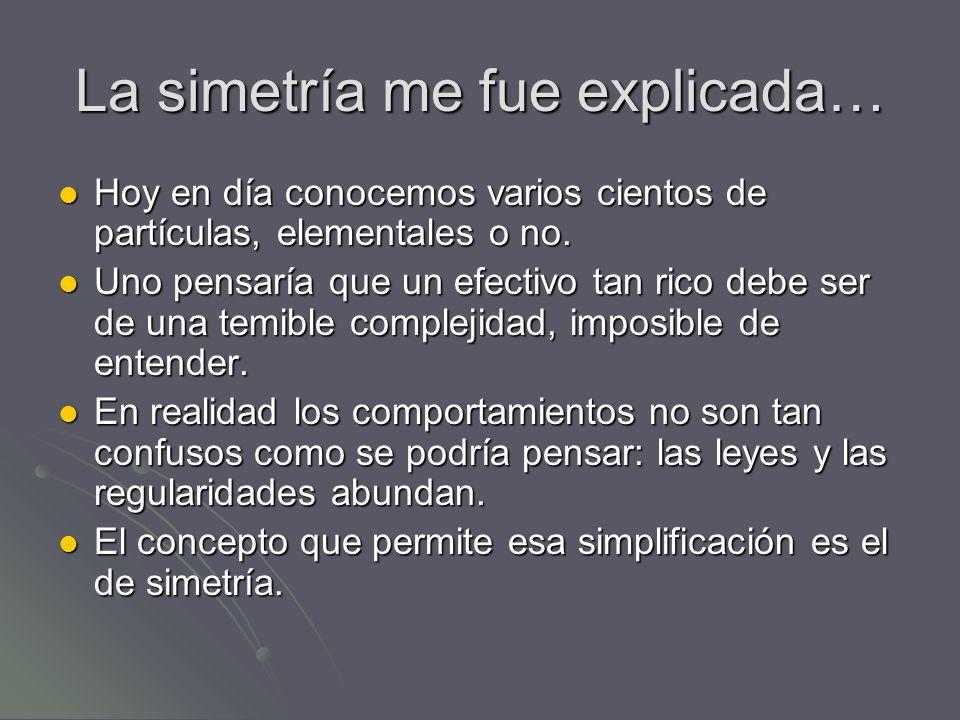La simetría me fue explicada… Hoy en día conocemos varios cientos de partículas, elementales o no. Hoy en día conocemos varios cientos de partículas,