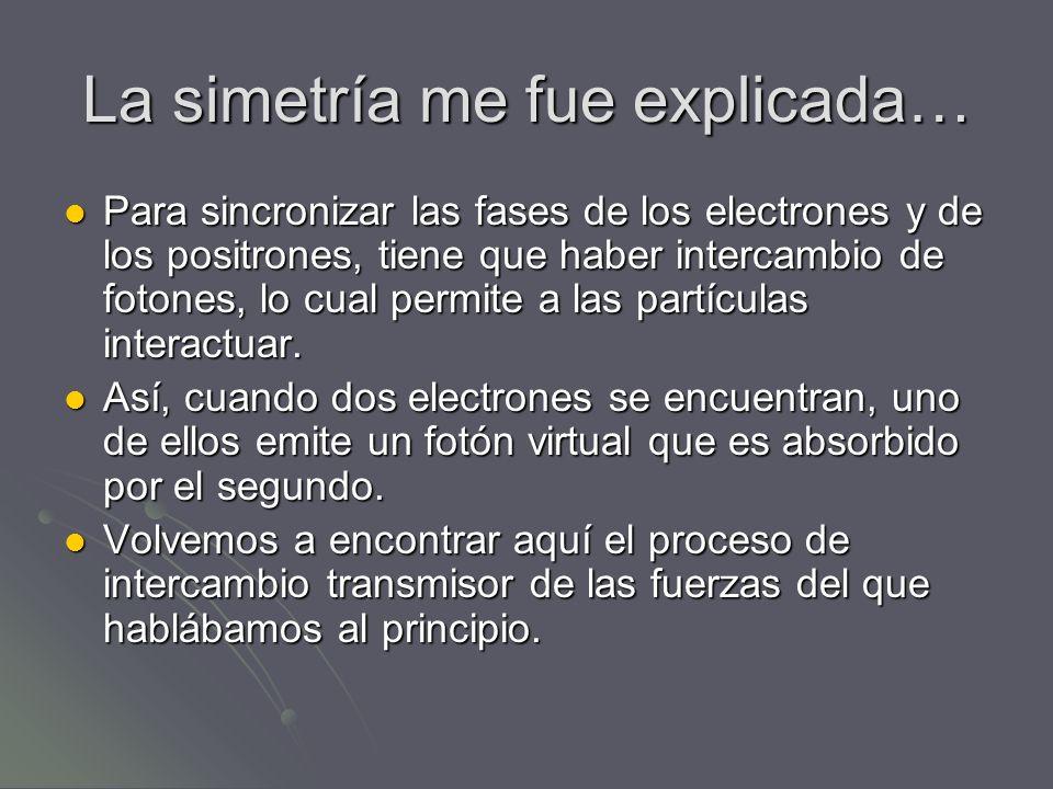 La simetría me fue explicada… Para sincronizar las fases de los electrones y de los positrones, tiene que haber intercambio de fotones, lo cual permit