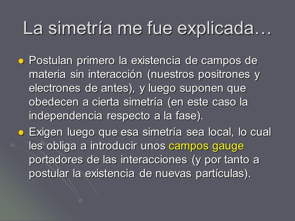 La simetría me fue explicada… Postulan primero la existencia de campos de materia sin interacción (nuestros positrones y electrones de antes), y luego