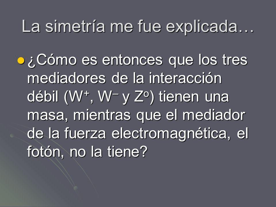 La simetría me fue explicada… ¿Cómo es entonces que los tres mediadores de la interacción débil (W +, W – y Z o ) tienen una masa, mientras que el med